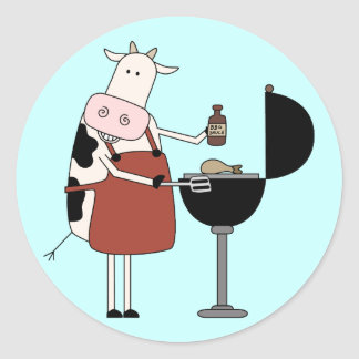 Cow Barbeque Tshirts and Gifts Classic Round Sticker