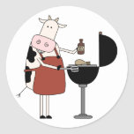Cow Barbeque Tshirts and Gifts Round Stickers