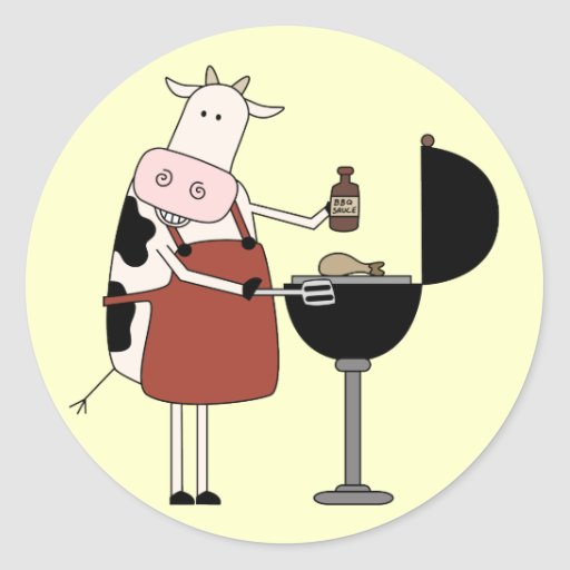 Cow Barbeque Tshirts and Gifts Stickers