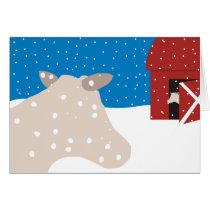 cow barn conversation snow Christmas card