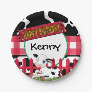 Cow, Barnyard Birthday Party Paper Plate