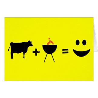 cow bbq happy greeting card