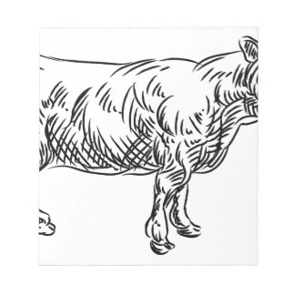 Cow Beef Food Grunge Style Hand Drawn Icon Notepad