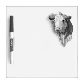 Cow/Beef Head: Pencil Art: Realism: Farm, Ranch Dry Erase Board