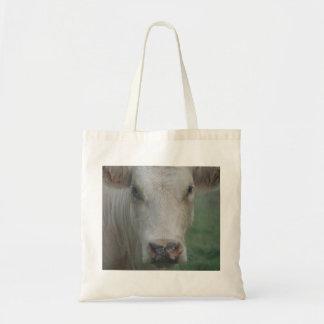 Cow Big Head Tote Bags