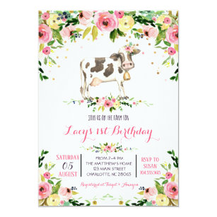 cow birthday invitations zazzle