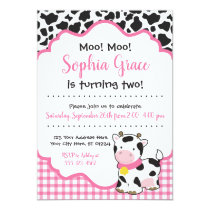 Cow Birthday Party Invitation | Pink and Black