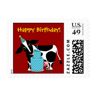 Cow Birthday Postage Stamp Funny