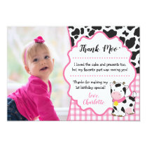 Cow Birthday Thank You Card | Farm Party