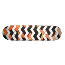 Cow Black and Orange Chevron Print Skateboard