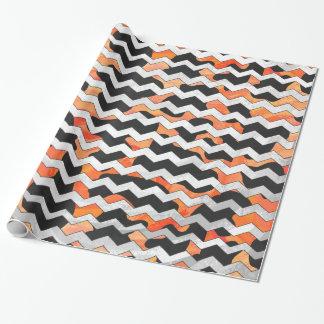 Cow Black and Orange Chevron Print Wrapping Paper