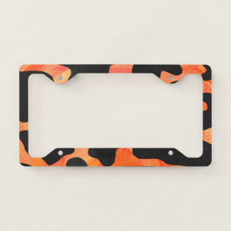 Cow Black and Orange Paint License Plate Frame