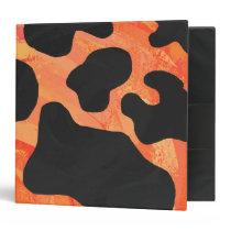 Cow Black and Orange Print Binder