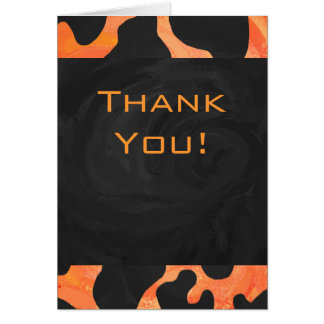 Cow Black and Orange Print Greeting Cards