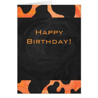 Cow Black and Orange Print Card