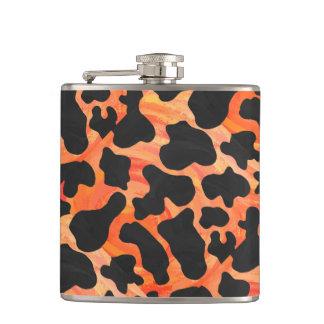 Cow Black and Orange Print Hip Flask