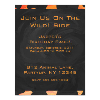 Cow Black and Orange Print Invitations