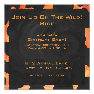 Cow Black and Orange Print Personalized Announcements