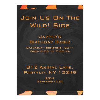 Cow Black and Orange Print Invitation