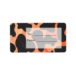 Cow Black and Orange Print Labels