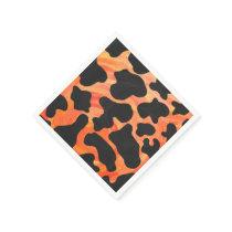 Cow Black and Orange Print Paper Napkin