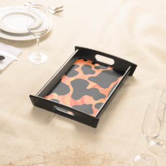 Cow Black and Orange Print Serving Tray