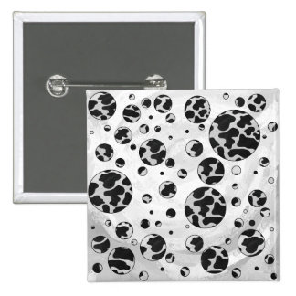 Cow Black and White Print Button