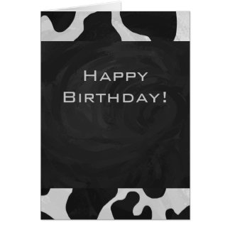 Cow Black and White Print Greeting Cards
