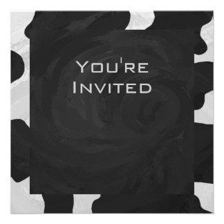 Cow Black and White Print Custom Announcement