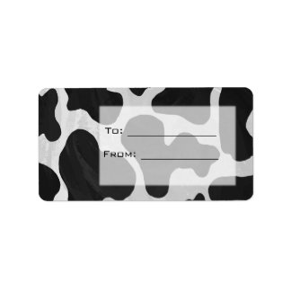 Cow Black and White Print Personalized Address Label