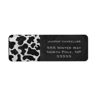 Cow Black and White Print Custom Return Address Labels