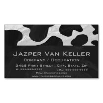 Cow Black and White Print Magnetic Business Card