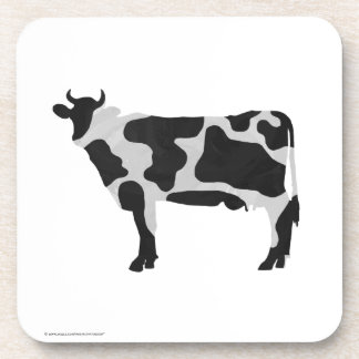Cow Black and White Silhouette Coaster