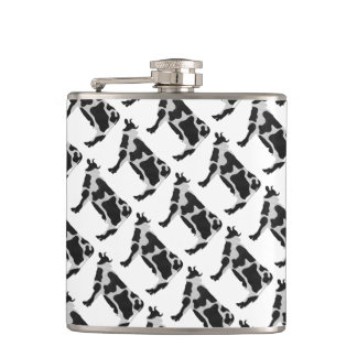 Cow Black and White Silhouette Hip Flasks