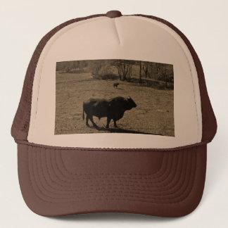 Cow, Black bull. Sepia Tone  Photo Trucker Hat