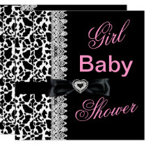 Cow black white Pink Girl Baby Shower Lace Invitation