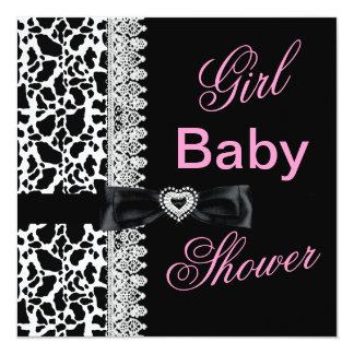 Cow black white Pink Girl Baby Shower Lace 5.25x5.25 Square Paper Invitation Card