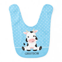 Cow Blue Polka Dot Personalized Boy Baby Bib