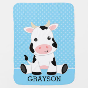 Cow Personalized Baby Toddler Infant Blanket Cute Farm Cow
