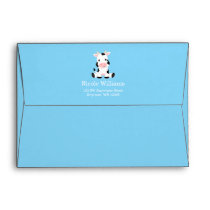 Cow Boy Baby Shower Blue Return Address Envelope