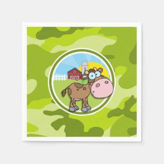 Cow; bright green camo, camouflage disposable napkin