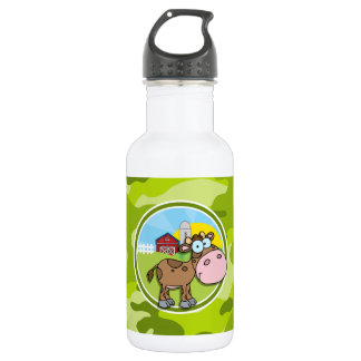 Cow; bright green camo, camouflage water bottle