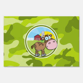 Cow; bright green camo, camouflage yard signs