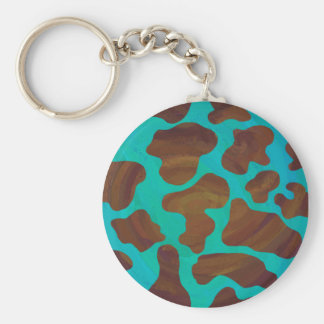 Cow Brown and Teal Print Basic Round Button Keychain