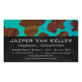 Cow Brown and Teal Print Business Card