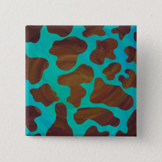 Cow Brown and Teal Print Button