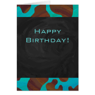 Cow Brown and Teal Print Greeting Card