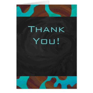 Cow Brown and Teal Print Greeting Cards