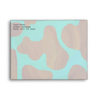 Cow Brown and Teal Print Envelopes