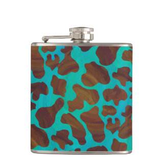 Cow Brown and Teal Print Hip Flask